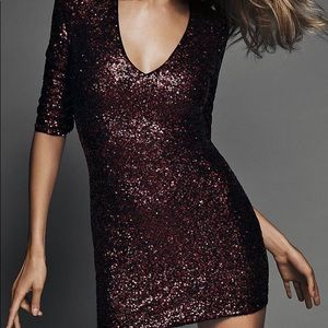 Express Red Sequin Dress